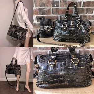 Yves Saint Laurent Crocodile RIVE Gauche Satchel